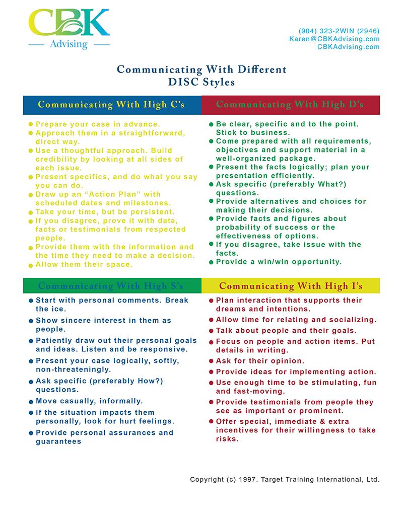 CBK DISC Communication Tips